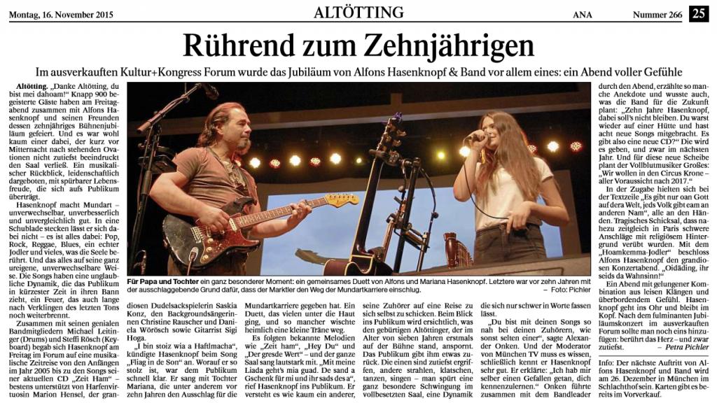 10 Jahre Jubiläums-Konzert Alfons Hasenknopf & Band